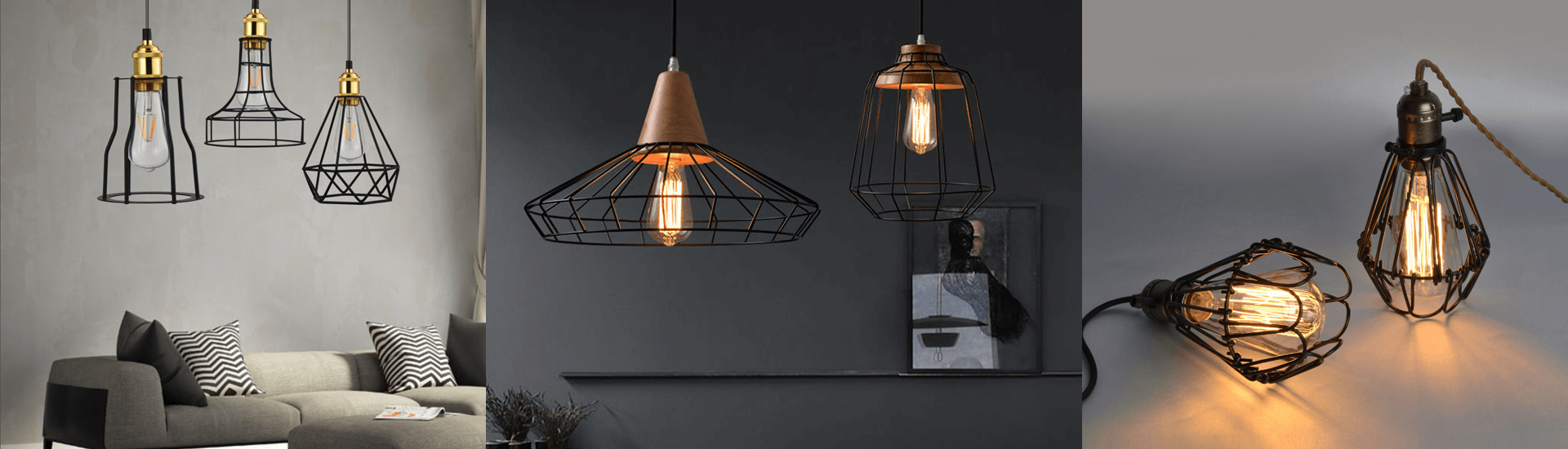 Iron cage pendant light