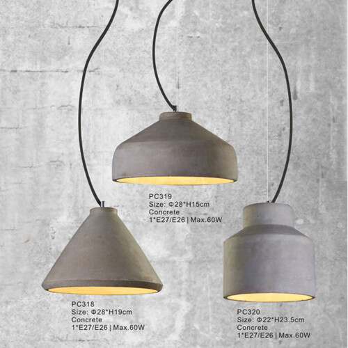 Concrete Pendant Light PC318/PC319/PC320