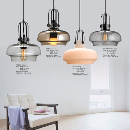 Glass Pendant Light PG205(Clear, Amber,Fog,Smoky Gray)