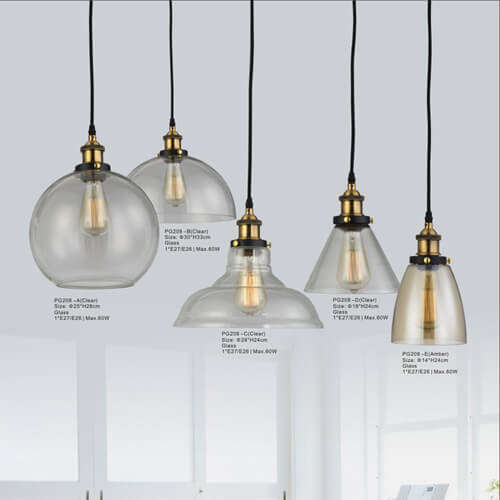 Glass Pendant Light PG208-A/B/C/D(Clear,Amber)