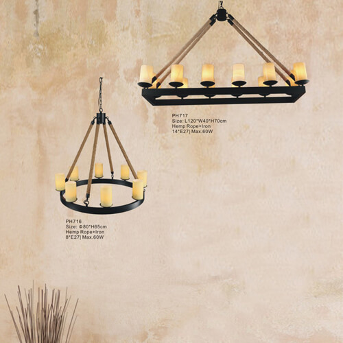 Hemp Rope Pendant Light PH716/717