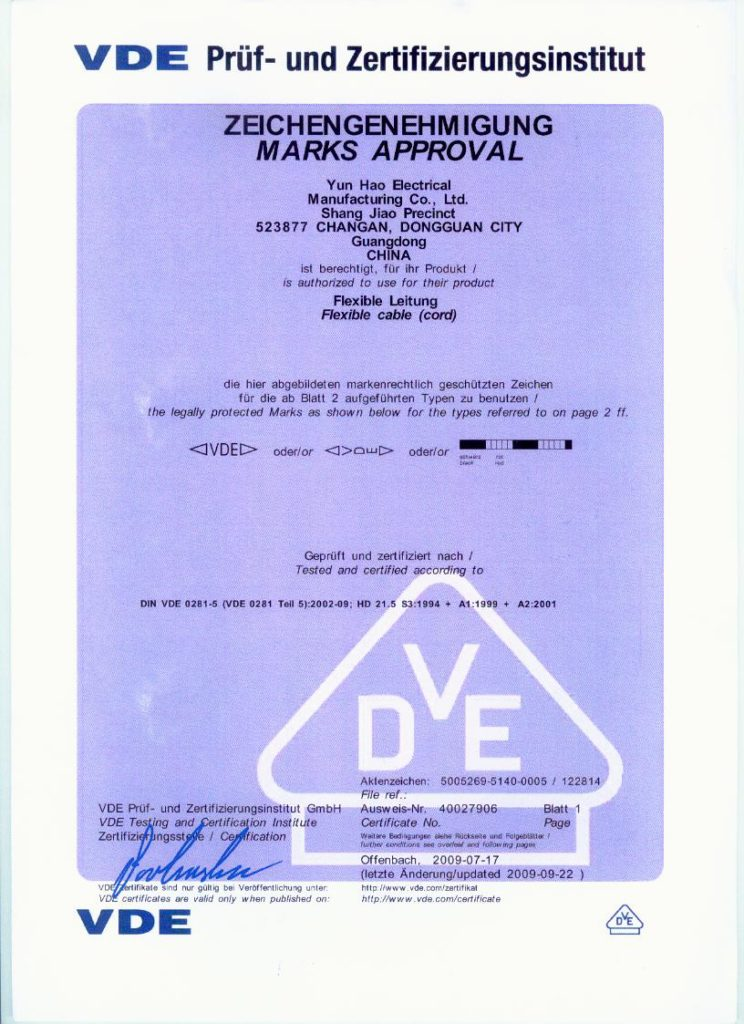 cable CE certificate